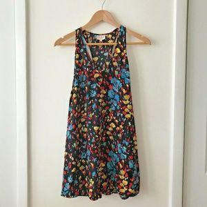 Parker Black Floral Racerback Silk Tunic Dress